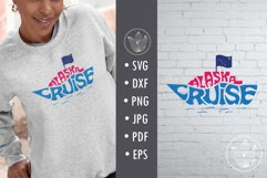 Alaska cruise svg cut file, Lettering in cruise ship shape Product Image 1