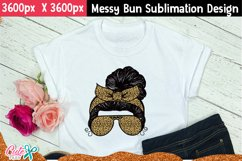 Messy bun with leopard- Mom life sublimation design Product Image 3