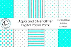 Aqua and Silver Digital Paper Pack Product Image 1
