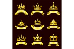 Gold crowns and ribbon banner vector set Product Image 1