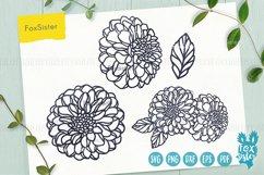 Flower svg, Clipart Vector Cut File, Floral svg, Dahlia svg Product Image 1