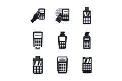 Bank terminal credit card icons set, simple style Product Image 1
