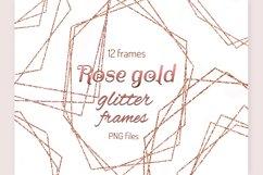 Rose gold frames Glitter frame clipart Invitation decor Product Image 1