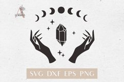 Witch hands svg, Crystal svg, Moon phases svg, Magic gem Product Image 1