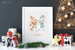 Cute Xmas naive Snowman Christmas watercolor nursery clipart Product Image 5
