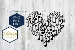 Music Notes SVG PNG DXF Piano Teacher Heart Instant Download Product Image 1