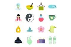 Spa flat icons set Product Image 1