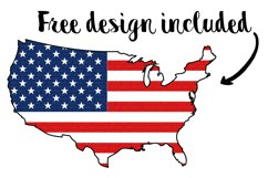 America T-Shirt Mockup Red White And Blue Flatlay With Flags Product Image 2