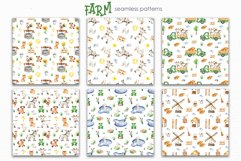Farm Watercolor Clipart. Cards, frames, seamless patterns Product Image 11