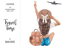 Fashion Travel Girl Clipart - Cute Backpack Illustration Product Image 1