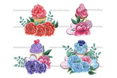 Cupcake Composition Watercolor Clipart, Floral Cupcakes Png Product Image 2