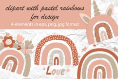 clipart with pastel rainbows for kids design Product Image 1