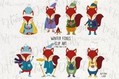 Winter Foxes Clipart SVG Clip Art. Cute Foxes Clip Art Product Image 2