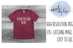 Bella Canvas Mockup / Plain Shirt Mock up / Maroon Marble Product Image 1