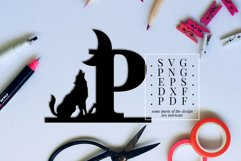 Howling Wolf Font P Paper Cut Template, Wild Life SVG, DXF Product Image 2