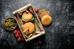 20 Photos Burgers with sauces and spices. Burger backgrounds Product Image 5