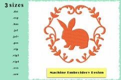 Silhouette Framed Rabbit Machine Embroidery Design 3 sizes Product Image 1
