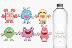 Monsters clip art and digital stamps, pastel colors Product Image 1