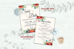 Wedding Invitation Set #4 Watercolor Floral Flower Style Product Image 3
