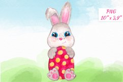 Watercolor Easter bunny clipart Cute little Bunny with egg Product Image 3