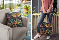 Tropical parrots, butterflies and palm leaves Product Image 4