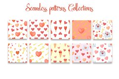 Hand drawn valentines seamless patterns png set Product Image 4