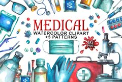 Watercolor Medical Clipart Product Image 1