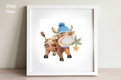 cute bull oriental new year symbol watercolor illustration Product Image 2