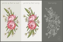Foil Quill Flowers | Print & Foil single line sketch design Product Image 3