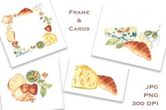 Cheese and Snacks. Watercolor clipart, patterns. JPG, PNG Product Image 5