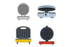 Waffle-iron icon set, flat style Product Image 1