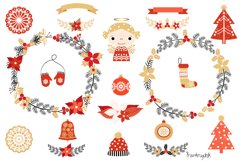 Red and gold Rustic Christmas clipart set with wreaths Product Image 3
