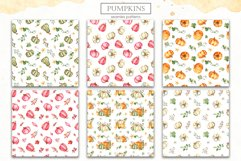 Watercolor Pumpkins. Clipart, cards, seamless patterns Product Image 4