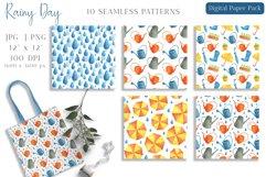 Watercolor Rain Digital Paper Pack. Spring Seamless Patterns Product Image 3