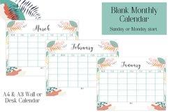 Monthly Calendar, Blank Calendar, Sunday start, Monday start Product Image 1