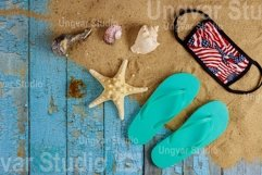 Travel vacation during with seashells on flip flops Product Image 1