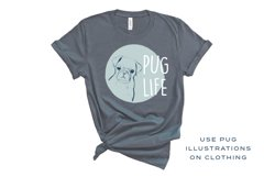Pug Illustrations - Editable Humorous Funny Vector Pugs Product Image 2