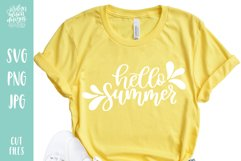 Hello Summer, Hand Lettered SVG Cut File Product Image 1