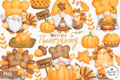 Watercolor Thanksgiving Gnome Clipart, Turkey Gnome Clipart Product Image 1