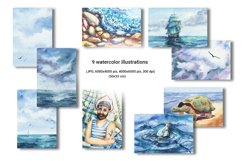 Seascape set of illustrations. Watercolor sea, ship, wave Product Image 3
