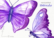 Watercolor Purple Butterflies - PNG Files Product Image 5