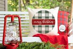 Merry Christmas Buffalo Plaid Round SVG | Winter Design Product Image 4