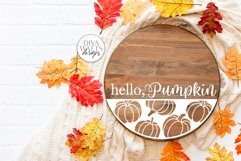Hello Pumpkin SVG   Fall Round Sign Design Product Image 2