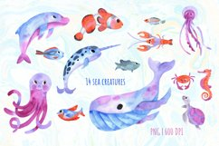 Under the Sea Watercolor Clipart. Ocean animals PNG Product Image 2