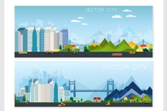 Set of vector poster with modern city Product Image 2