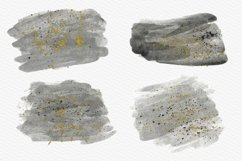 Gray Watercolor Splash with Gold Ink Clipart Product Image 2