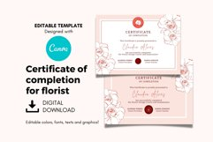 Rose Certificate of Completion Editable Canva Template. Product Image 2
