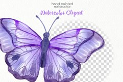 Watercolor Purple Butterflies - PNG Files Product Image 3