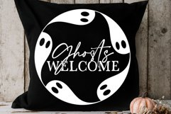Ghosts Welcome SVG | Halloween Round Sign Design Product Image 2
