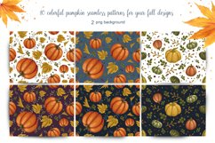 set of autumn seamless patterns with pumpkins Product Image 2